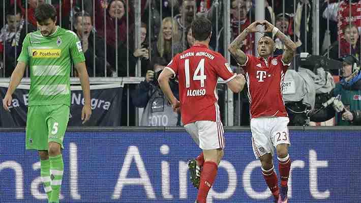 Vidal marca para el Bayern que vence al Mönchengladbach y se mantiene puntero en la Bundesliga