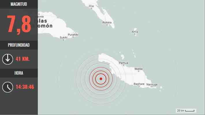 Terremoto 7,8 Richter afecta a las islas Salomón y SHOA descarta alerta de tsunami para Chile
