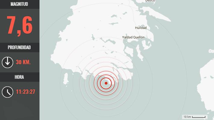 Un fuerte sismo de 7,6 grados Richter se registró en Melinka, Región de Aysén