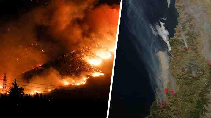 Compara con imágenes satelitales la dimensión del humo que cubre la zona central del país
