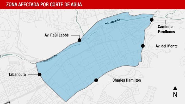 Aguas Cordillera informa corte de emergencia en sectores de Las Condes, Vitacura y Lo Barnechea