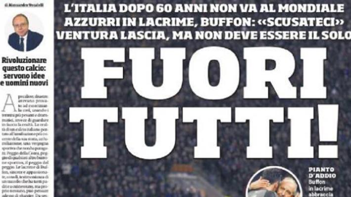 """""""Vergüenza, fracasados, fuera todos"""": Las portadas más duras de la prensa italiana tras quedar fuera del Mundial"""