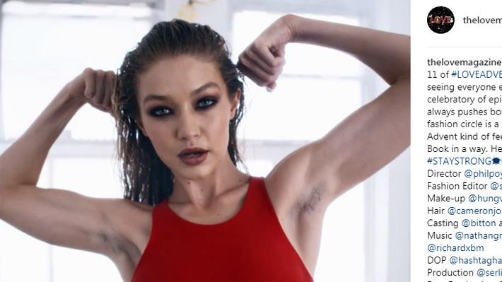 Gigi Hadid posa con sus axilas sin depilar para promover la belleza natural