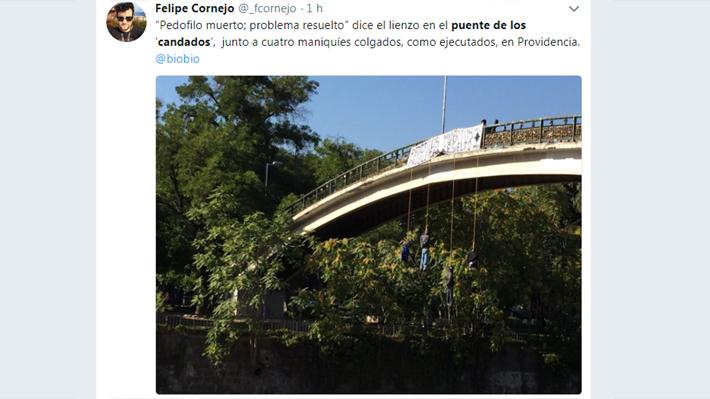 La agresiva manifestación contra pedófilos en el puente Los Candados de Providencia