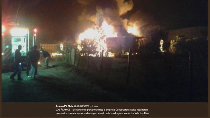 Se registran ataques incendiarios en el Biobío y en La Araucanía