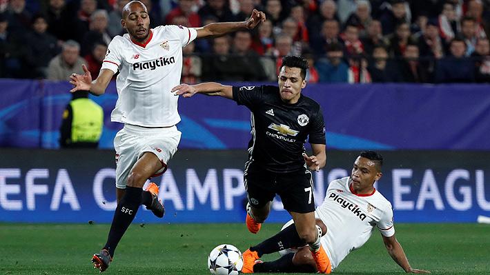 Alexis poco pudo hacer en un United que se lleva un empate ante el Sevilla por octavos de la Champions