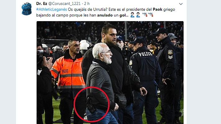 Locura total: Presidente del PAOK de Grecia invadió cancha con guardaespaldas y amenazó al árbitro con una pistola