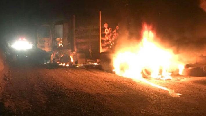 Desconocidos incendian 16 camiones de una empresa de La Araucanía