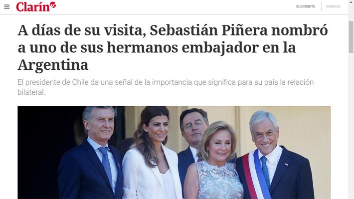 """Entre elogios y el """"fantasma del nepotismo"""": Medios argentinos destacan llegada de hermano de Piñera como embajador"""