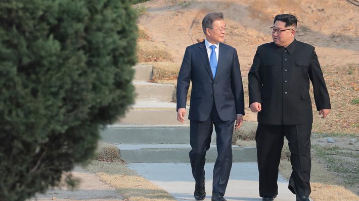 """Coreas acuerdan buscar """"paz permanente"""" y """"completa desnuclearización"""" del norte"""