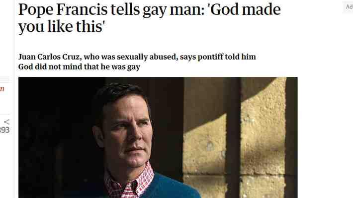¿Nuevos tiempos en el Vaticano? Juan Carlos Cruz reveló apoyo del Papa ante su homosexualidad