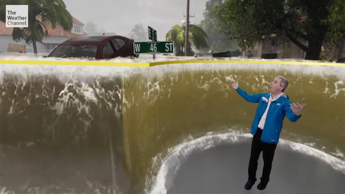 Video de una proyección del huracán Florence sorprende a espectadores con la tecnología de