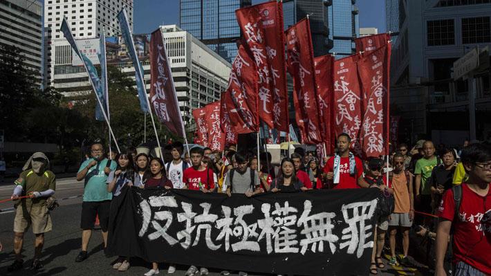 Masiva manifestación en Hong Kong rechaza encarcelamiento de activistas