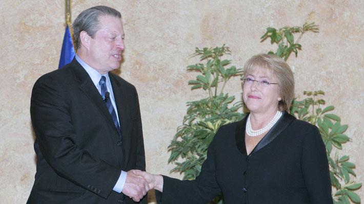La carta en la que Al Gore agradece a Bachelet los esfuerzos de Chile en la lucha contra el cambio climático