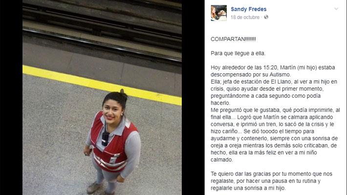 "Madre de niño autista destaca actuar de funcionaria de Metro: ""Te mereces mil aplausos"""