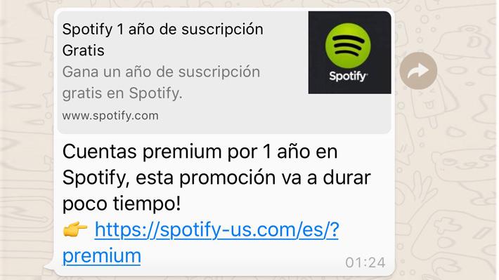Mensaje viral en WhatsApp que promete cuentas premium gratis de Spotify podría instalar un malware en tu teléfono