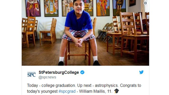 Niño de 11 años se graduó de la universidad y quiere demostrar con la ciencia la existencia de Dios