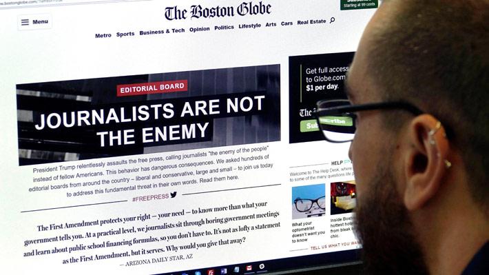 Más de 350 diarios de EE.UU. dedican sus editoriales a defender la libertad de prensa tras acusaciones de Trump