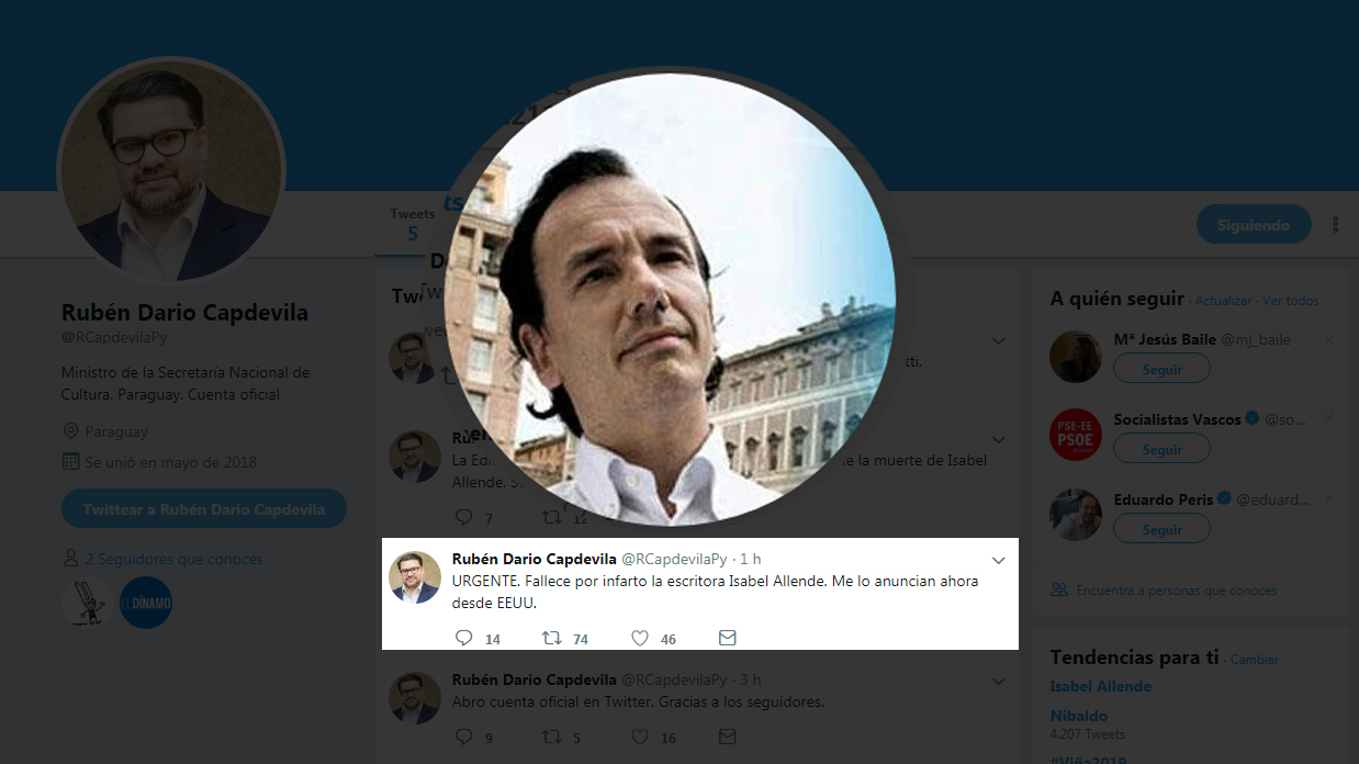 """Tommaso Debenedetti el """"gran mentiroso"""" detrás del anuncio falso sobre la muerte de Isabel Allende"""