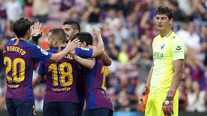 Barcelona aplasta al Huesca: Vidal vio acción en el contundente 8-2 que mantiene a los catalanes líderes en España