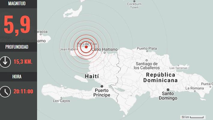 Resultado de imagen para Terremoto de magnitud 5,9 sacude Haití y causa daños y heridos en norte país