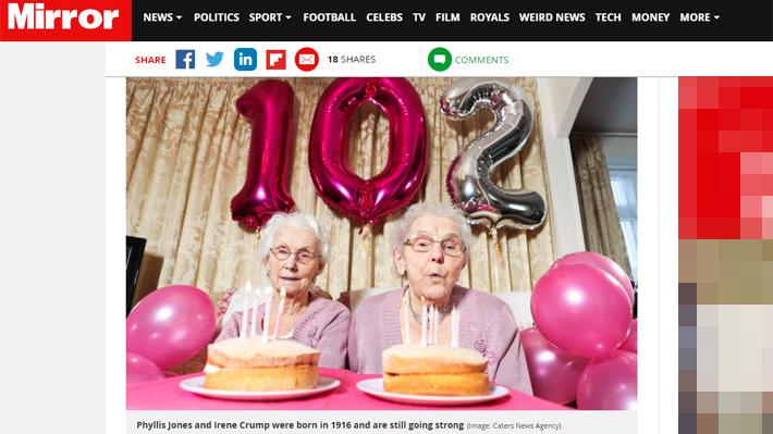 Creen que son las hermanas más ancianas del Reino Unido: Gemelas celebraron 102 años de vida