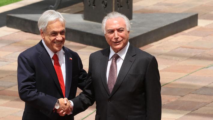 """Chile y Brasil firman acuerdo de libre comercio: Piñera valora que negociación haya sido en tiempo """"récord"""""""