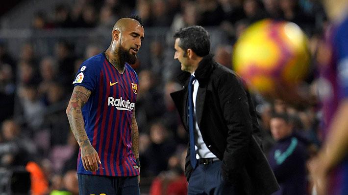 Valverde fue pifiado por los hinchas del Barcelona al momento de cambiar a Vidal, quien hacía un gran partido ante Villarreal