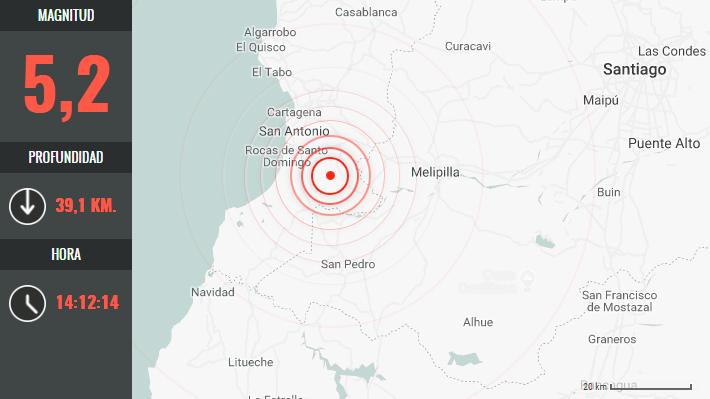 Sismo de 5,2 se registró en la zona central: San Antonio fue el epicentro