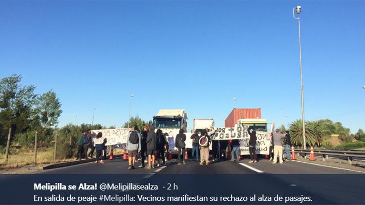 Protesta por alza del peaje en Melipilla interrumpió el tránsito en Autopista del Sol