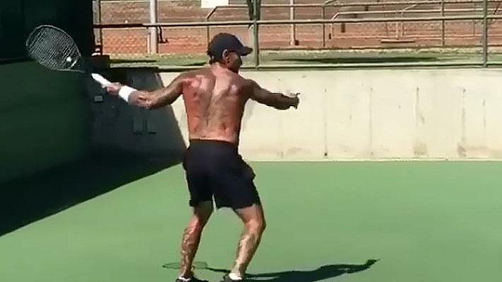"""Mira el entrenamiento en cancha con el que el """"Chino"""" Ríos se prepara para la exhibición ante Nicolás Lapentti"""
