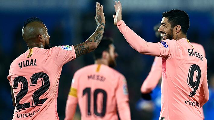 Un luchador Vidal jugó 70 minutos en la apretada victoria del líder Barcelona ante el Getafe por Liga española