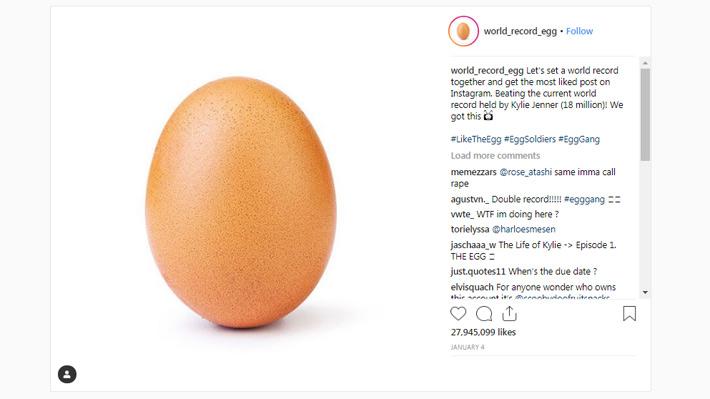 """Un huevo bate el récord y se transforma en la fotografía con más """"me gusta"""" en Instagram"""