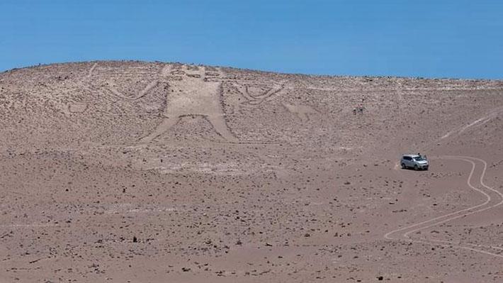 """Causantes de daños al geoglifo """"Gigante de Tarapacá"""" no podrán salir del país"""