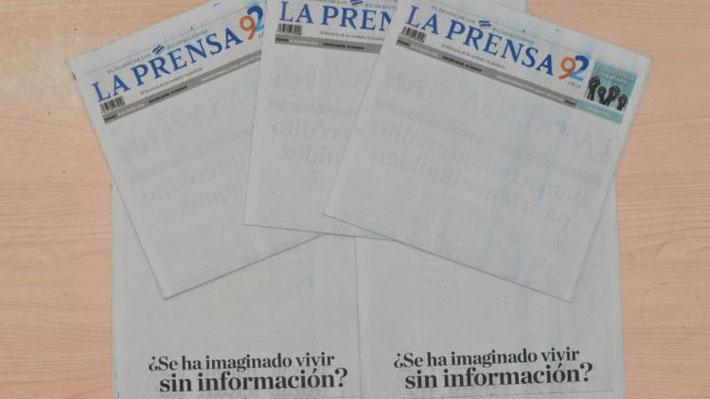 Diario La Prensa de Nicaragua publica su portada en blanco en protesta contra el Gobierno