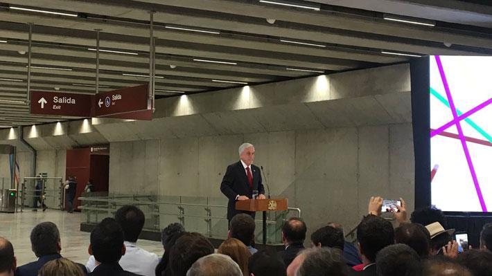 """Piñera inaugura oficialmente la Línea 3: Destaca el """"progreso"""" que representa y hace un llamado a cuidar la obra"""
