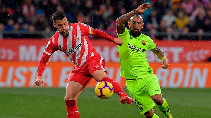 Arturo Vidal no pudo gravitar y fue sustituido en victoria del Barcelona que lo mantiene con ventaja en el liderato de España