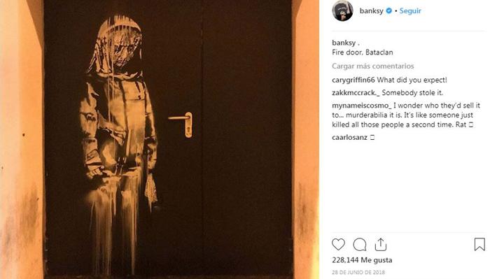 Roban en París obra de Banksy que era un homenaje a las víctimas de Bataclan