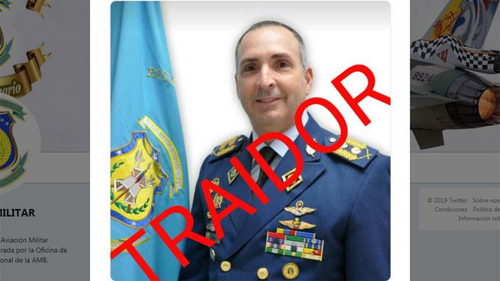 """Aviación de Venezuela llama """"traidor"""" y """"corrupto"""" a general que dijo reconocer a Guaidó como Presidente"""