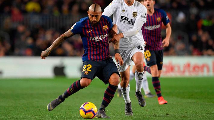 Arturo Vidal jugó todo el partido y asistió con un lujo en el empate del Barcelona ante el Valencia por la Liga
