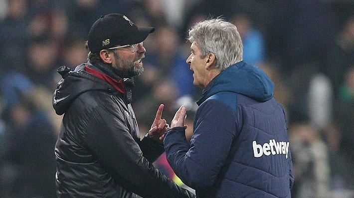 El cruce entre Pellegrini y Klopp por un gol en fuera de juego y la fuerte acusación del técnico chileno del West Ham