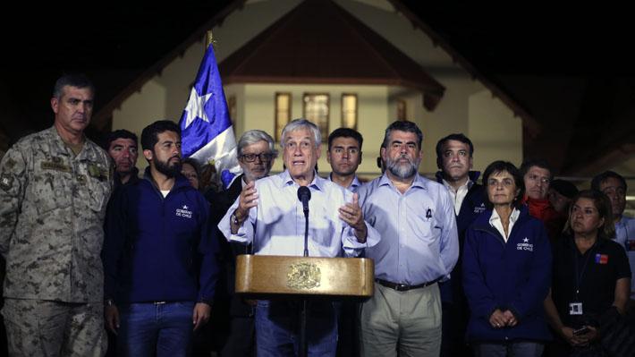 """Presidente Piñera por emergencia en el norte: """"Nuestra primera prioridad es proteger las vidas humanas"""""""