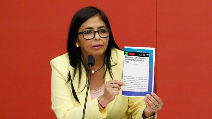 """Vicepresidenta de Venezuela asegura que ayuda alimentaria proveniente de EE.UU. """"es cancerígena"""""""