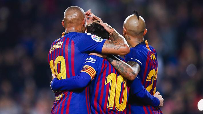 Vidal juega un buen partido en ajustado triunfo del Barcelona que le permite mantener su ventaja en la cima de la Liga