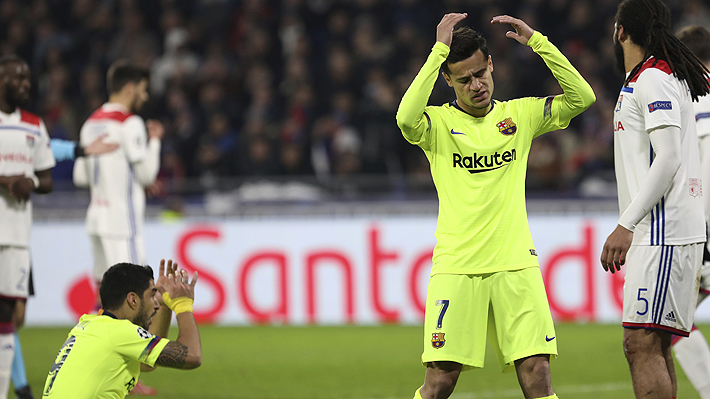 Vidal entra sobre el final en opaco empate sin goles del Barcelona ante el Lyon por los octavos de la Champions