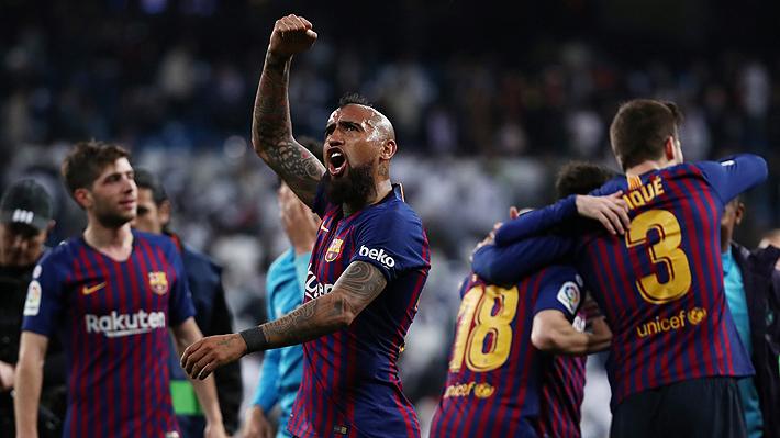 """El Barcelona otra vez """"asalta"""" el Bernabéu y vence al Real Madrid con Arturo Vidal en cancha los últimos 20 minutos"""