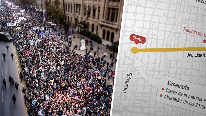 Cuál es el trazado de la marcha del 8M en Santiago y qué otras se realizarán en el país