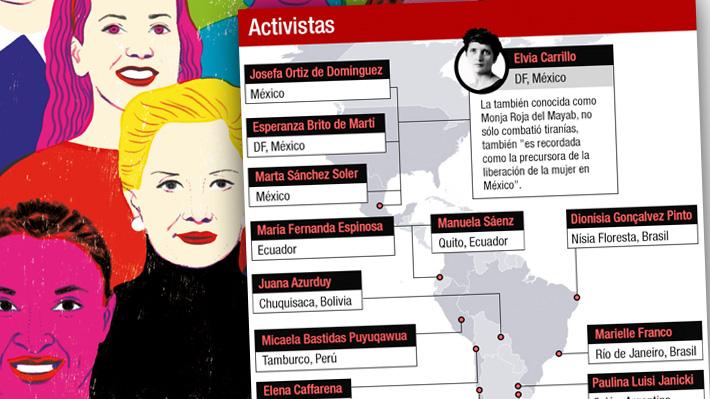 """El mapa de las """"Mujeres bacanas latinas"""", un recopilatorio de biografías femeninas que engrandecen al continente"""
