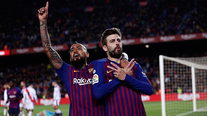 Vidal vuelve a jugar un partido completo en el Barcelona y es uno de los puntos altos en trabajada victoria ante el Rayo