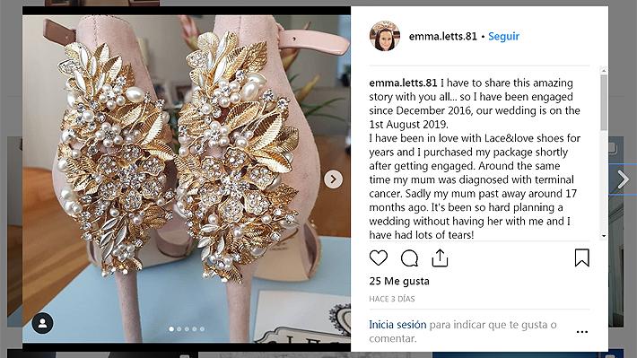 """Novia quedó """"destrozada"""" después de ver que los zapatos para su matrimonio tenían un mensaje de su fallecida madre"""